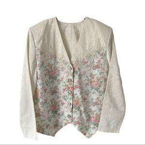Vintage Floral Lace Appliqué Blazer Jacket Large